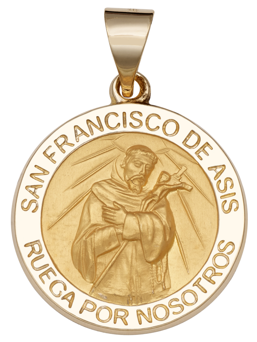 St francis of assisi series rand paseka mfg co inc st francis of assisi 14kt yellow gold round hollow 34 aloadofball Gallery